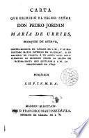 Carta ... de D. Pedro Jordan Ma de Urries